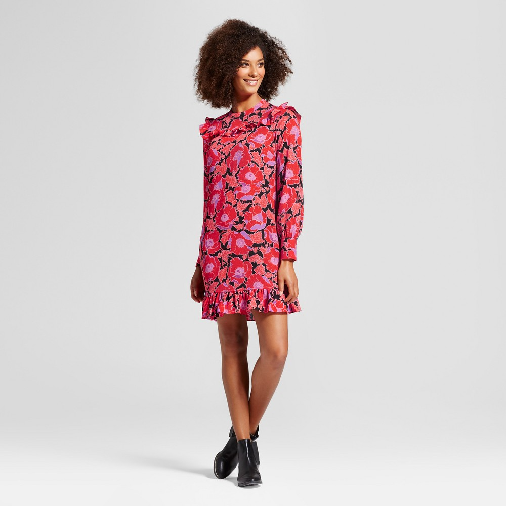 Womens Printed Mini Dress - Who What Wear Orange Floral Xxl