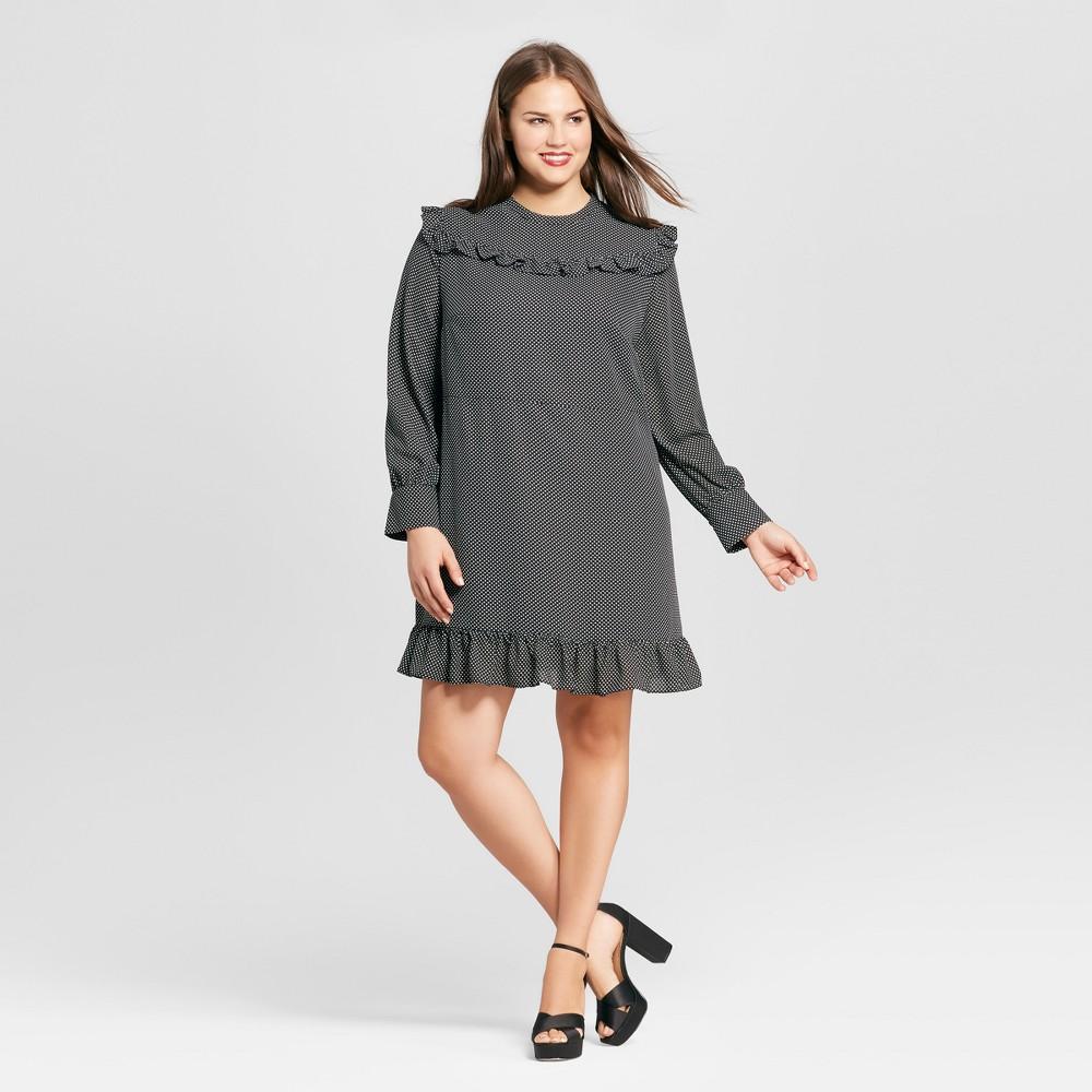 Womens Plus Size Printed Mini Dress - Who What Wear Black Polka Dot 3X