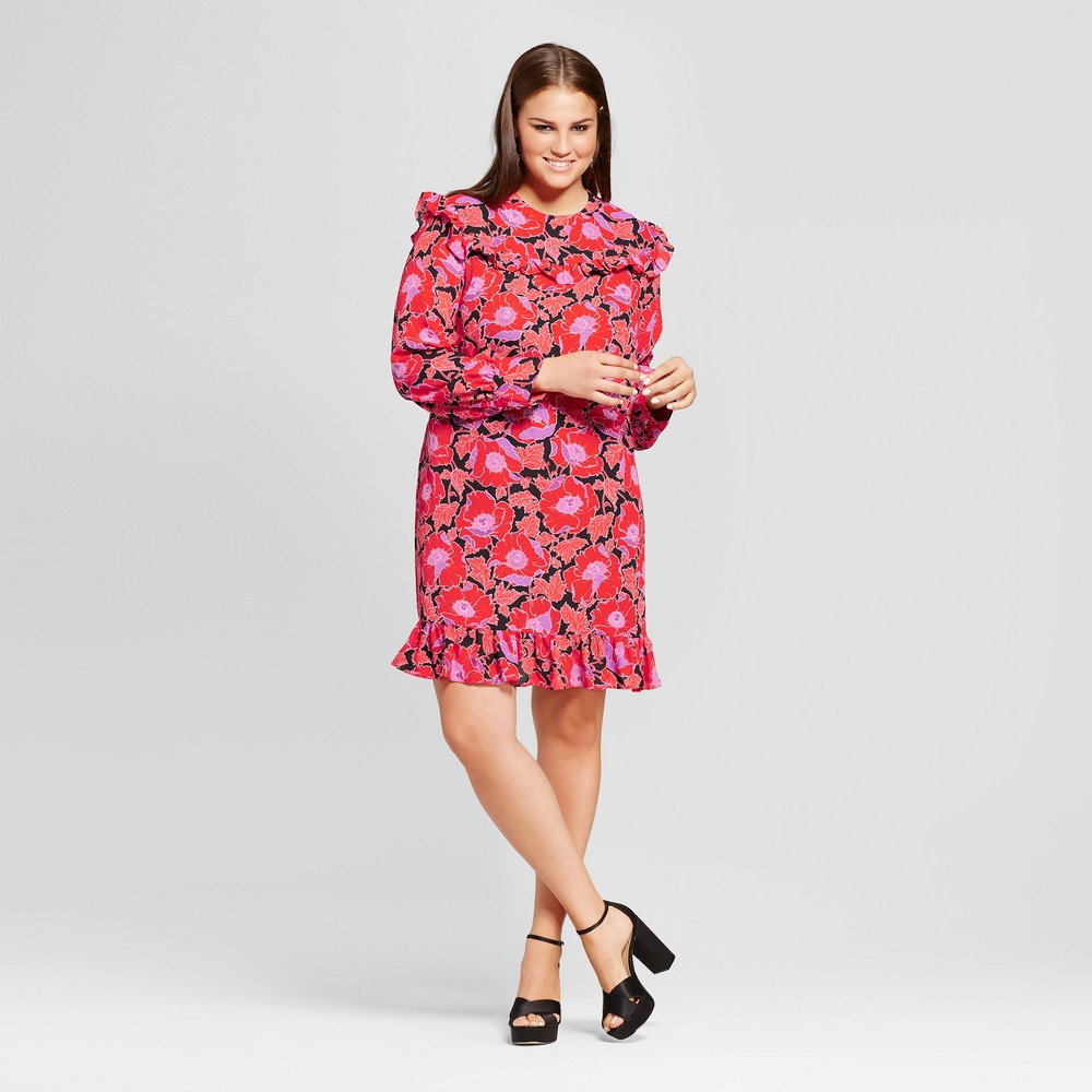 Womens Plus Size Printed Mini Dress - Who What Wear Orange Floral X