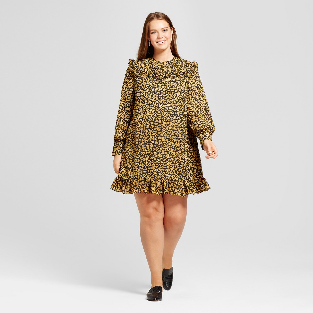 Womens Plus Size Printed Mini Dress - Who What Wear Yellow Cheetah X