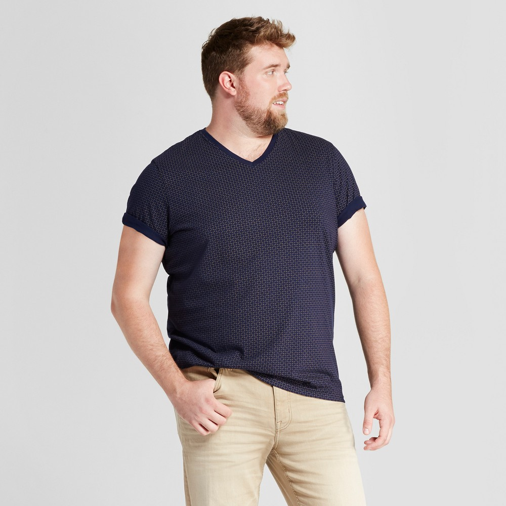 Men's Big & Tall Standard Fit Dash Print Short Sleeve V-N...