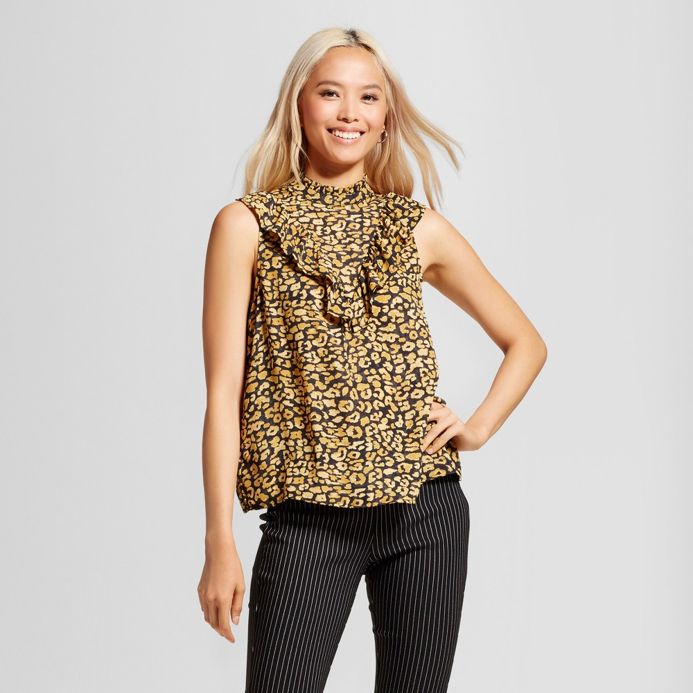 Womens Ruffle V Henley Blouse- Who What Wear Yellow Cheetah Xxl