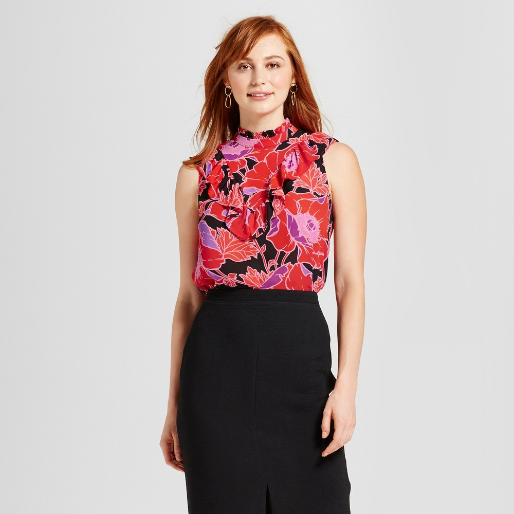 Women's Ruffle V Henley Blouse - Who What Wear Orange Floral S
