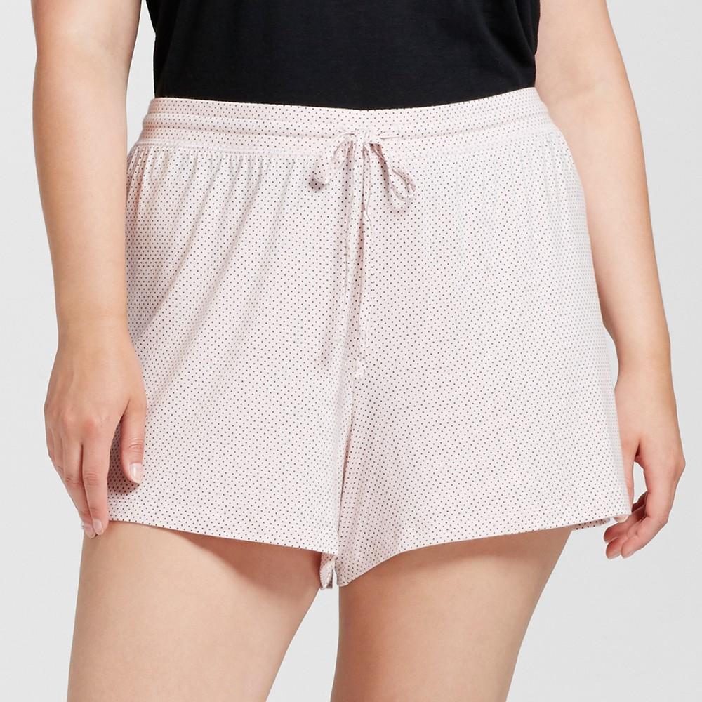 Womens Plus Size Pajama Shorts Pink 3X