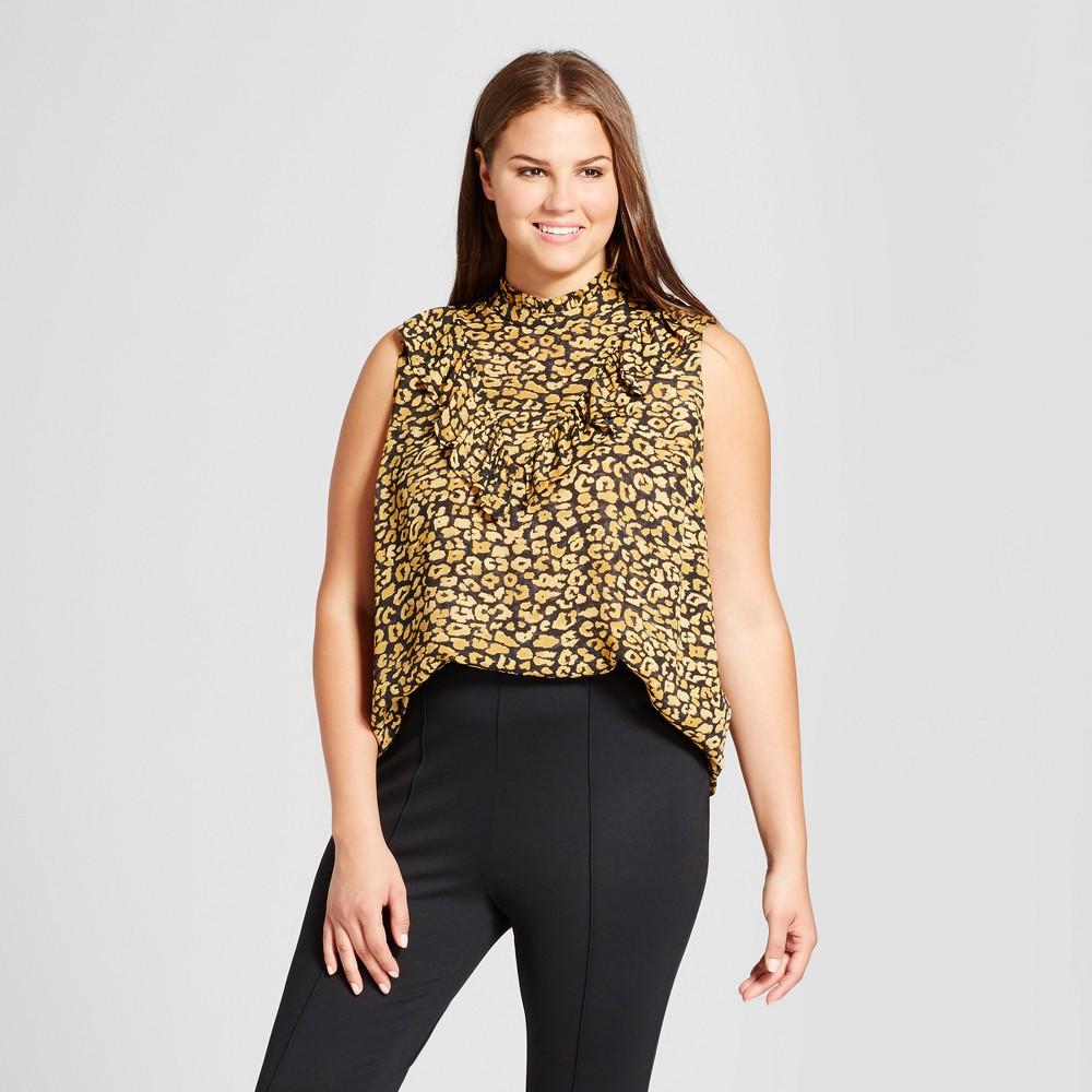Womens Plus Size Ruffle V Henley Blouse - Who What Wear - Yellow Cheetah 4X