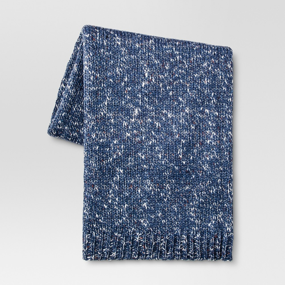 "Heathered Knit Throw Blanket (50""""x60"""") - Blue - Threshold"