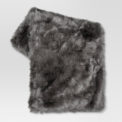 Dark Gray Faux Fur Throw Blanket (50 x60 )- Threshold™