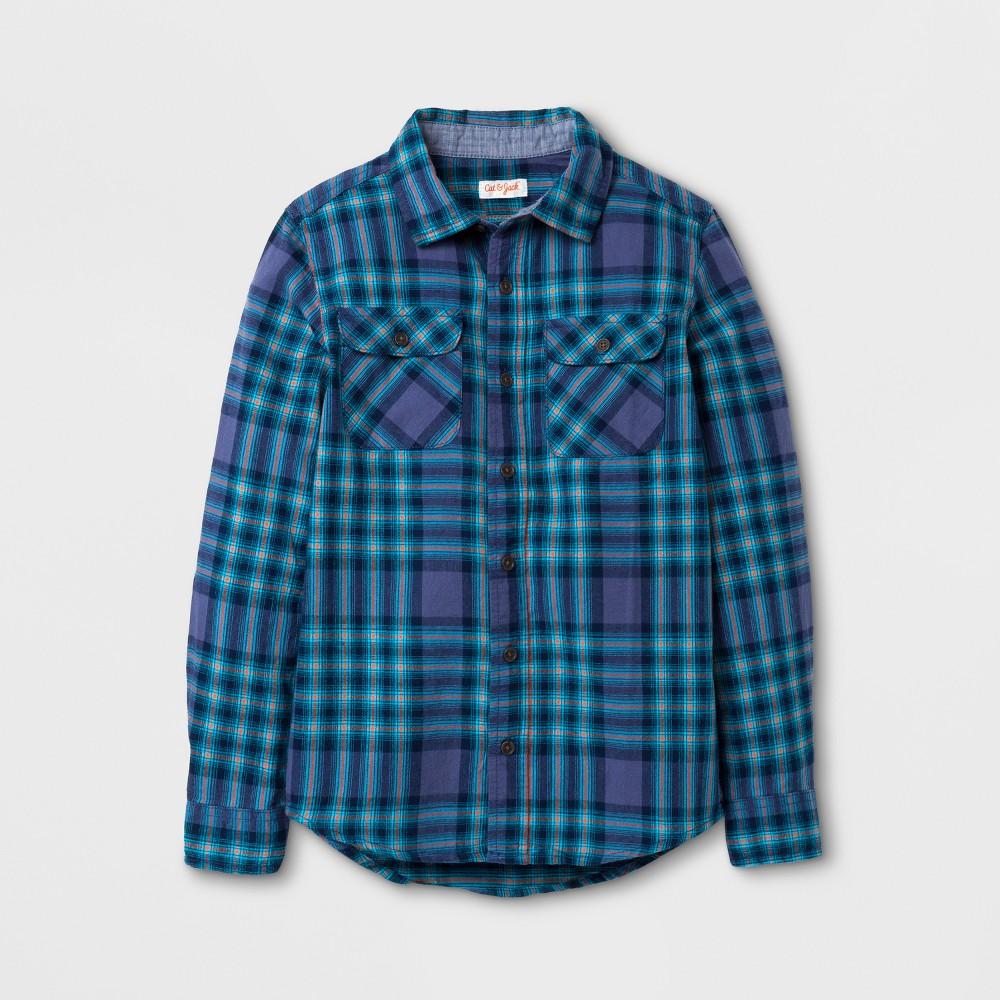 Boys Button Down Shirt - Cat & Jack Blue M Husky, Size: Xxl Husky