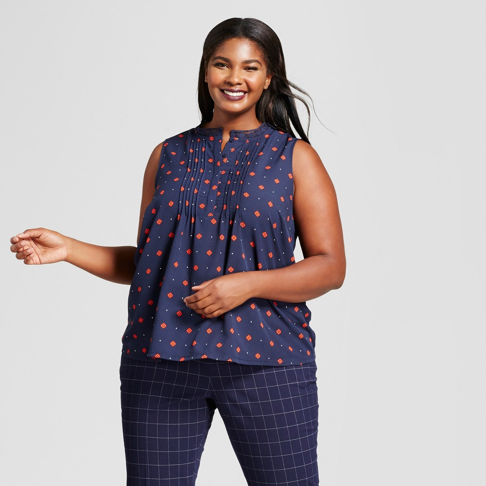 Womens Plus Size Pleat Front Top - A New Day Navy 3X, Blue