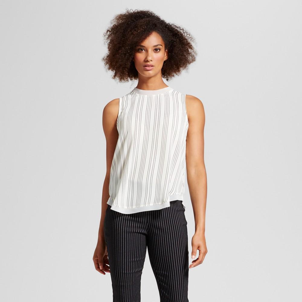 Womens Chiffon Trim Woven Tank Top - Who What Wear White Stripe XS