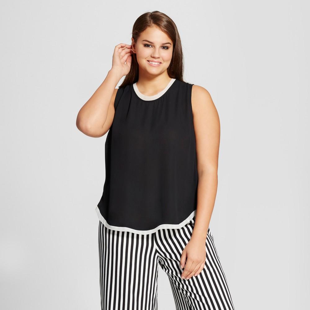 Womens Plus Size Chiffon Trim Woven Tank Top - Who What Wear Black X