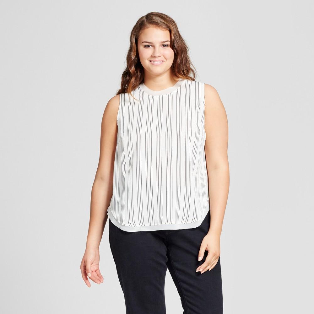 Womens Plus Size Chiffon Trim Woven Tank Top - Who What Wear White Stripe X