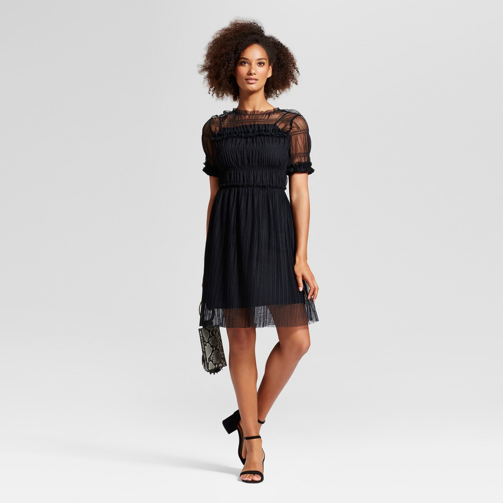 Womens Rouched Mesh Dress - Who What Wear Black Xxl