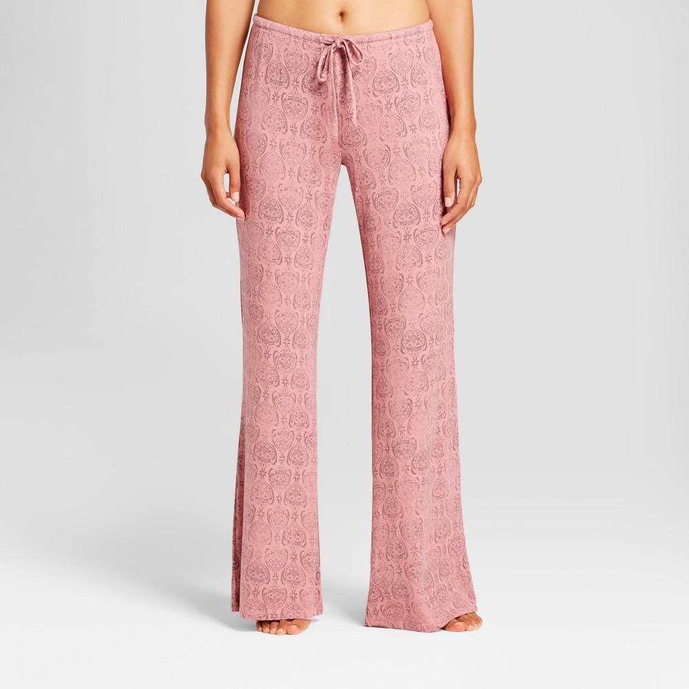 Womens Tall Damask Print Total Comfort Wide Leg Pajama Pants Holiday Rose M, Pink
