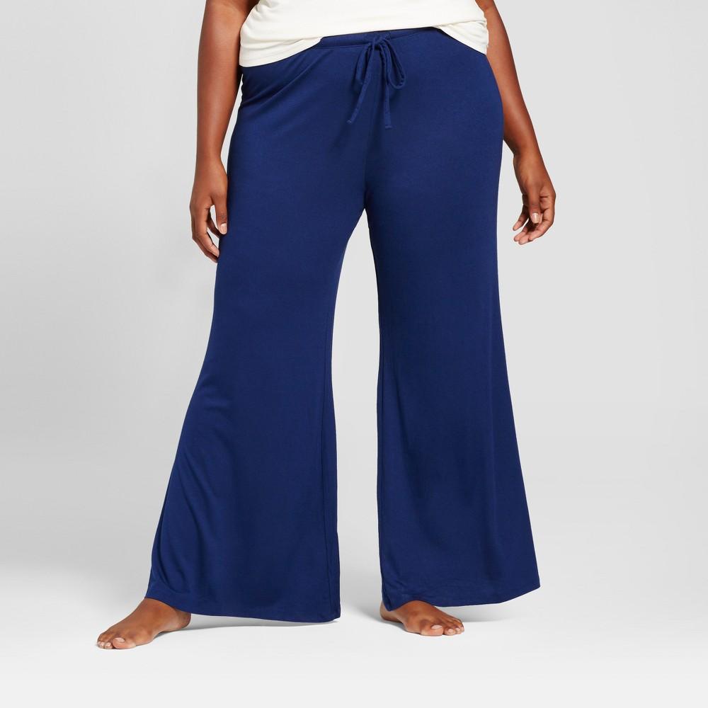 Womens Plus Size Pajama Pants Nighttime Blue 2X