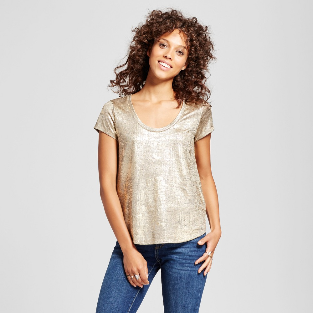 Womens Short Sleeve Foil Print T-Shirt - Mossimo Gold M