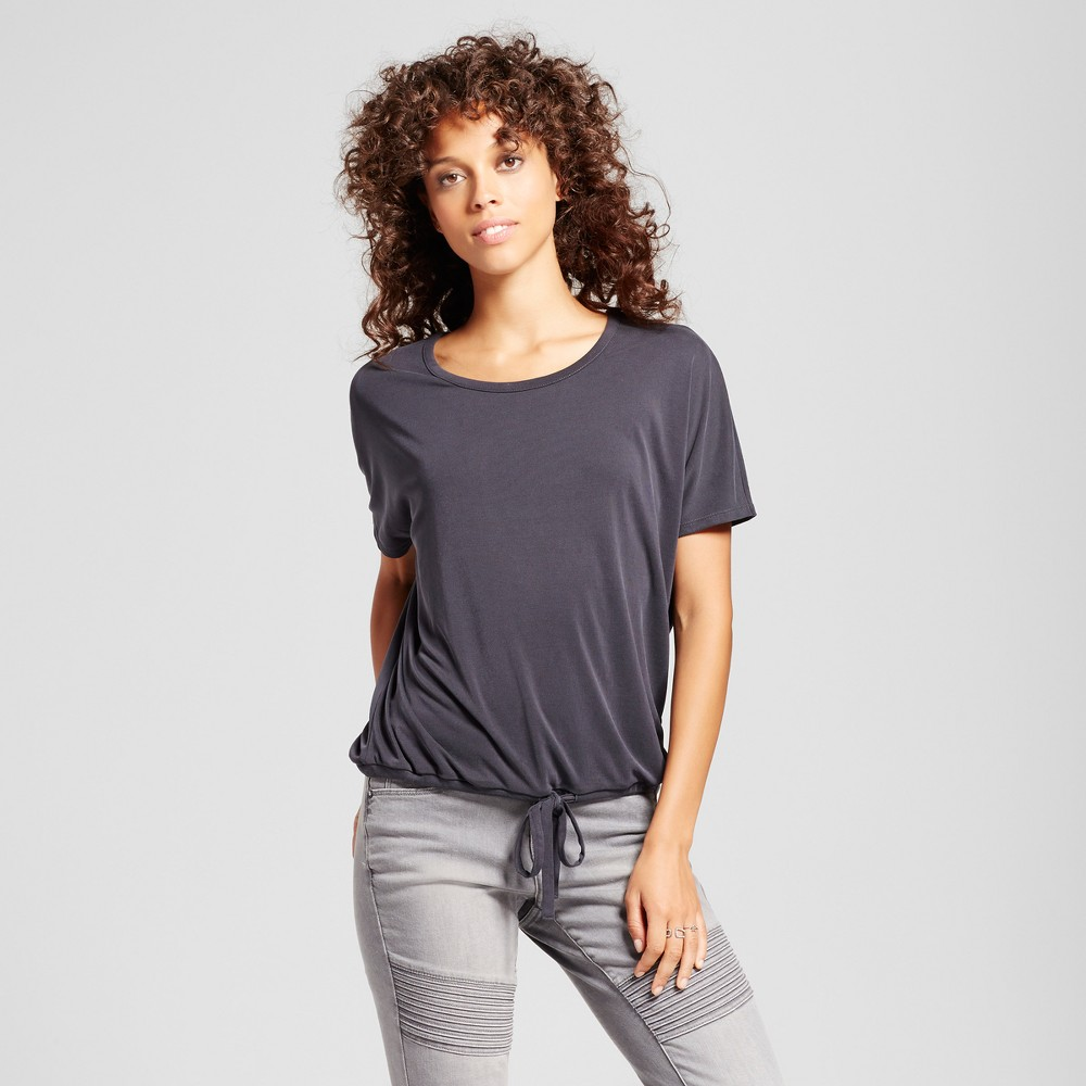 Womens Dolman Sleeve Top with Drawstring Waist - Mossimo Gray M
