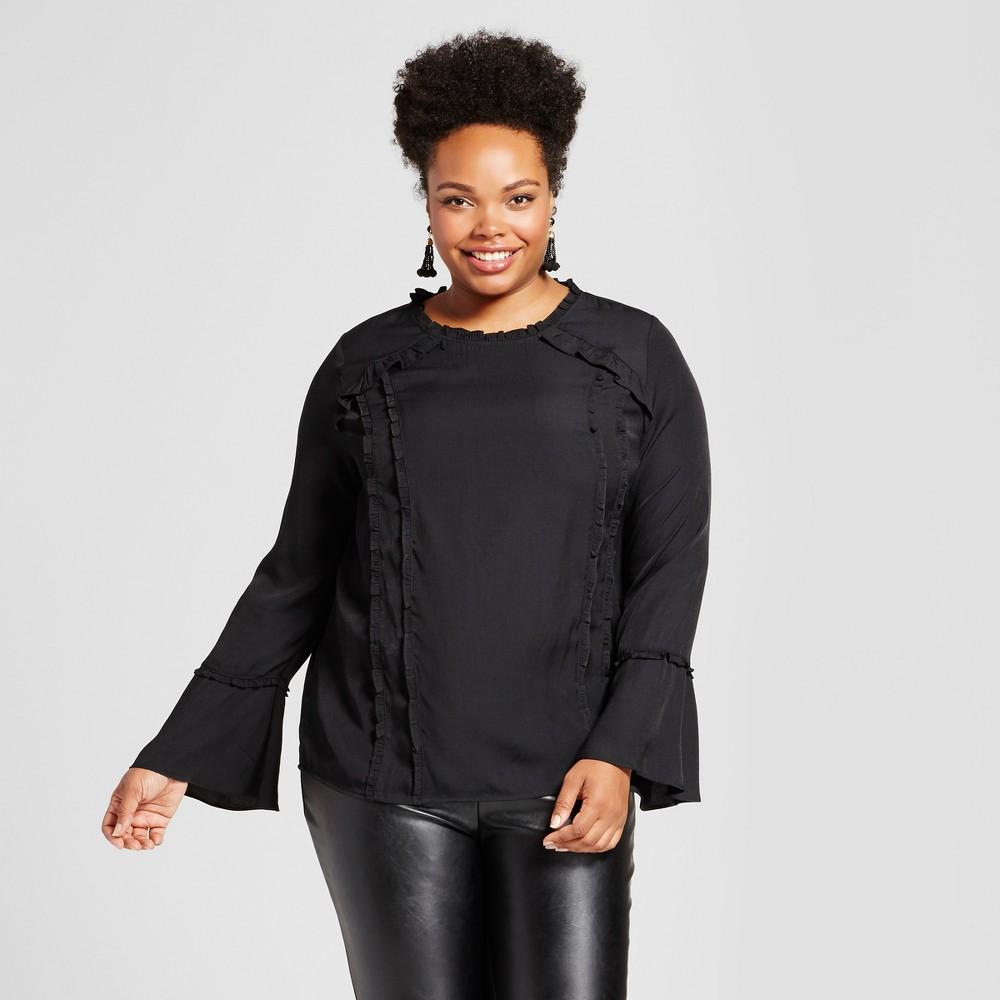 Womens Plus Size Ruffle Trim Blouse - Ava & Viv Black X