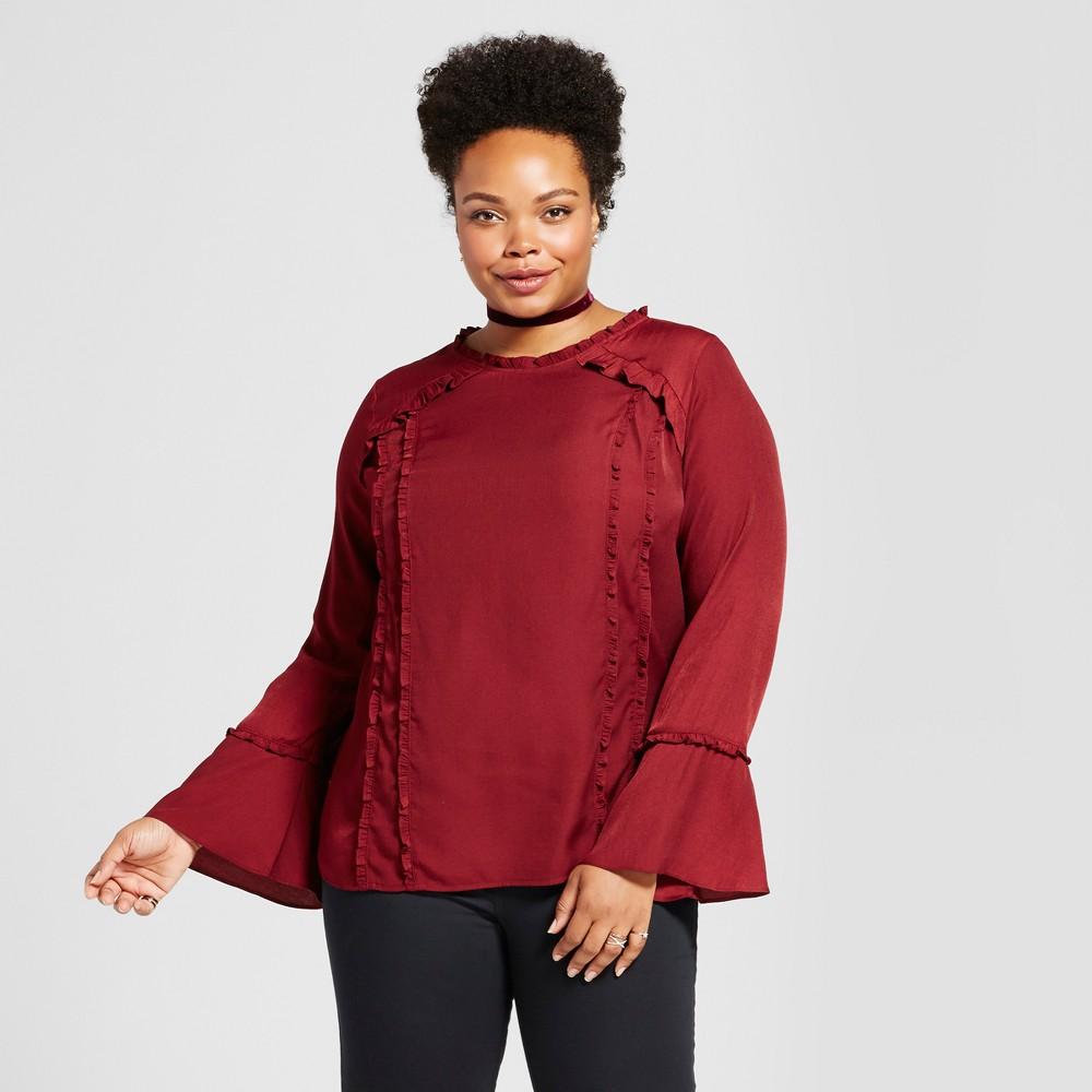 Womens Plus Size Ruffle Trim Blouse - Ava & Viv Red 4X
