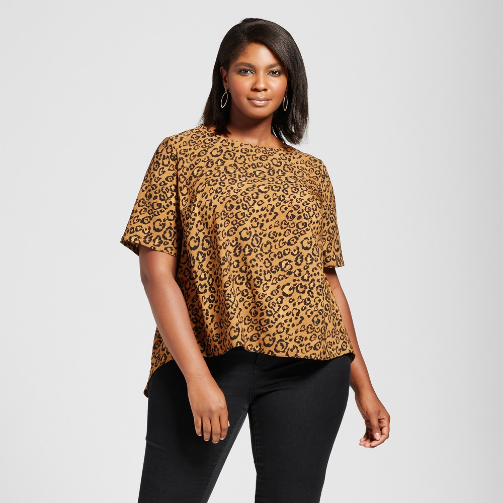 Womens Plus Size Animal Print Blouse with Back Detail - Ava & Viv Brown 2X