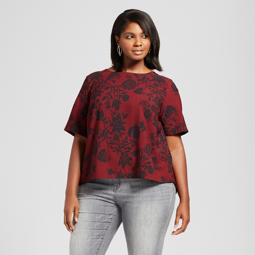 Womens Plus Size Floral Printed Blouse with Back Detail - Ava & Viv Burgundy 4X, Red