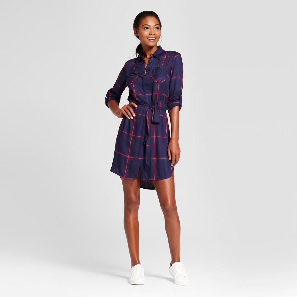 Womens Plaid Shirt Dress - A New Day Navy (Blue) XL