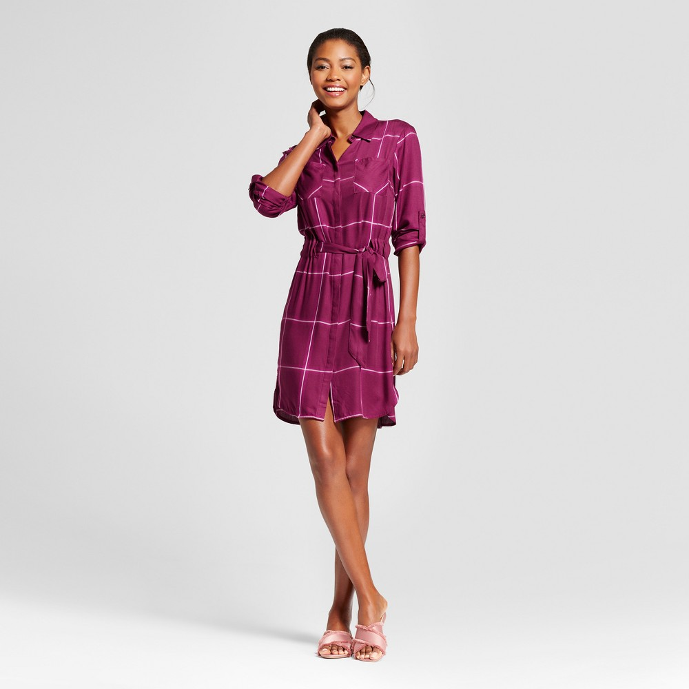 Womens Plaid Shirt Dress - A New Day Cherry (Red) XS
