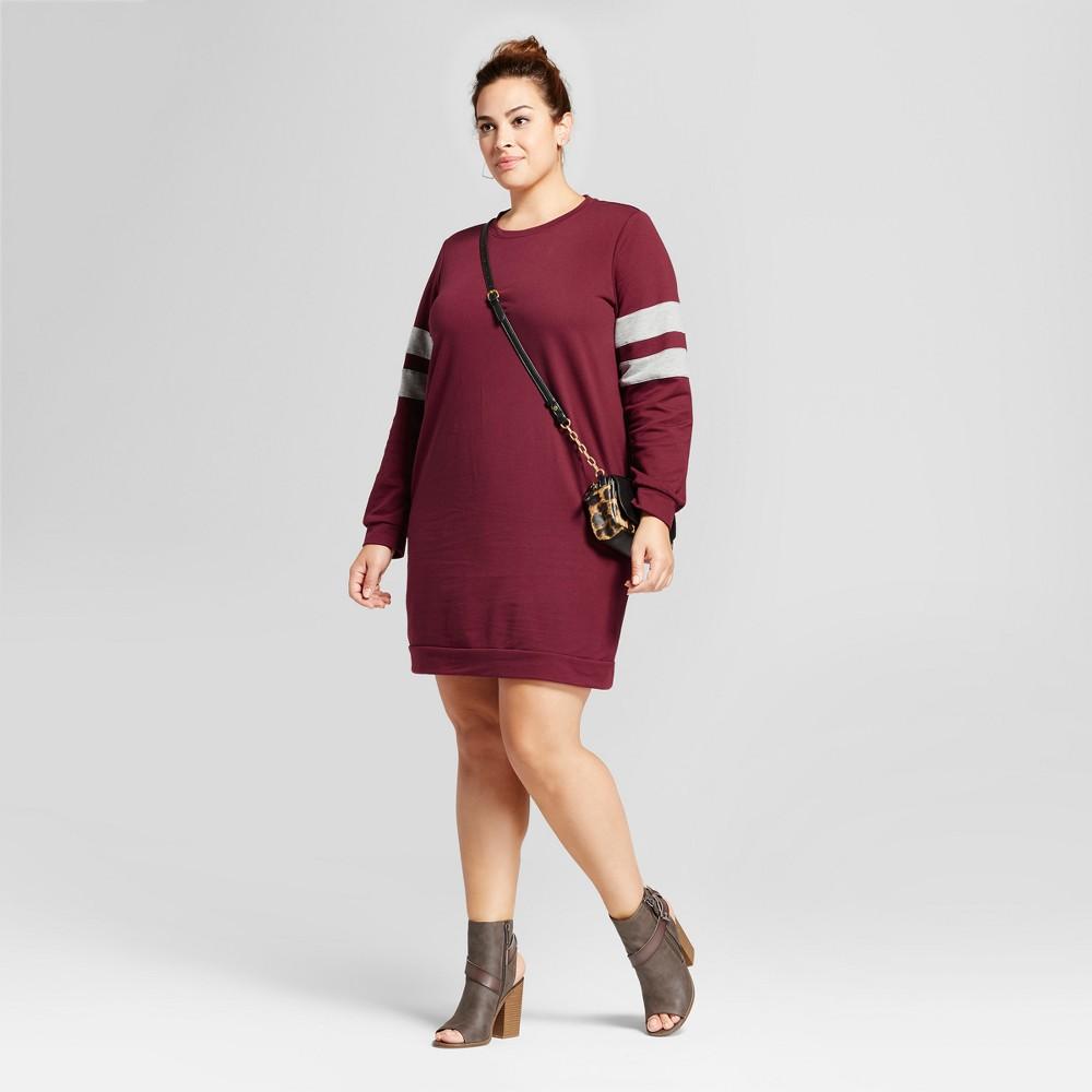Womens Plus Size Stripe Sleeveless Sweatshirt Dress - Ava & Viv Opulent Red 3X