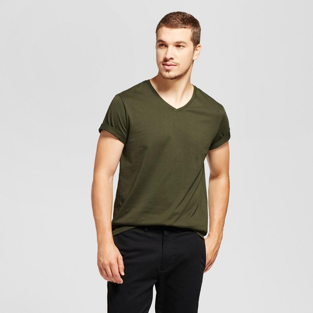Mens Standard Fit Short Sleeve V-Neck T-Shirt - Goodfellow & Co Green Xxl