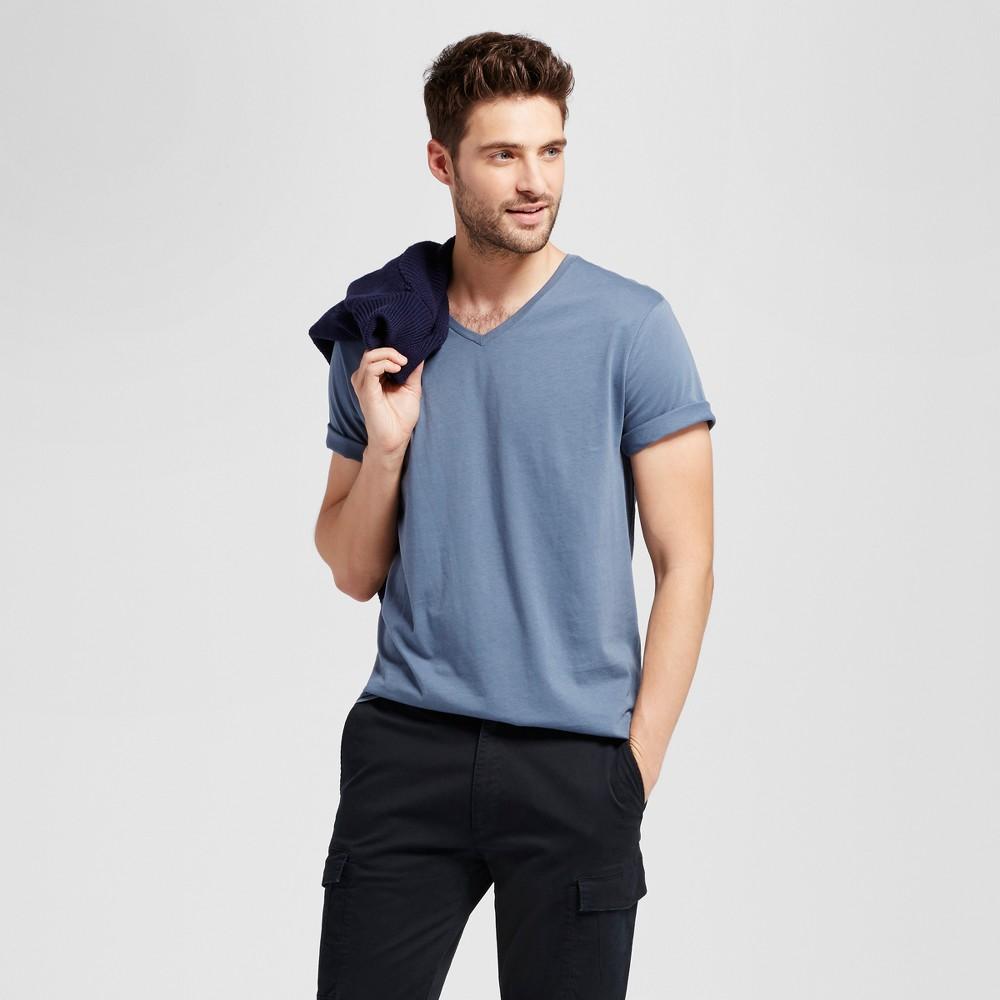 Mens Standard Fit Short Sleeve V-Neck T-Shirt - Goodfellow & Co Slate Blue S