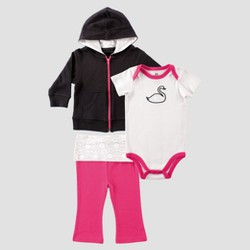 Yoga Sprout Baby Girls' Hoodie, Bodysuit and Pants Swan Set - Black