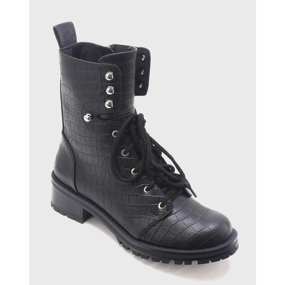Womens Violet Croc Combat Boots Who What Wear - Black 9.5