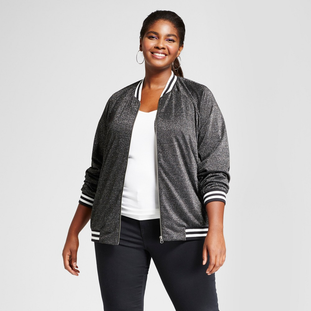 Womens Plus Size Lurex Bomber Jacket - Ava & Viv Black X