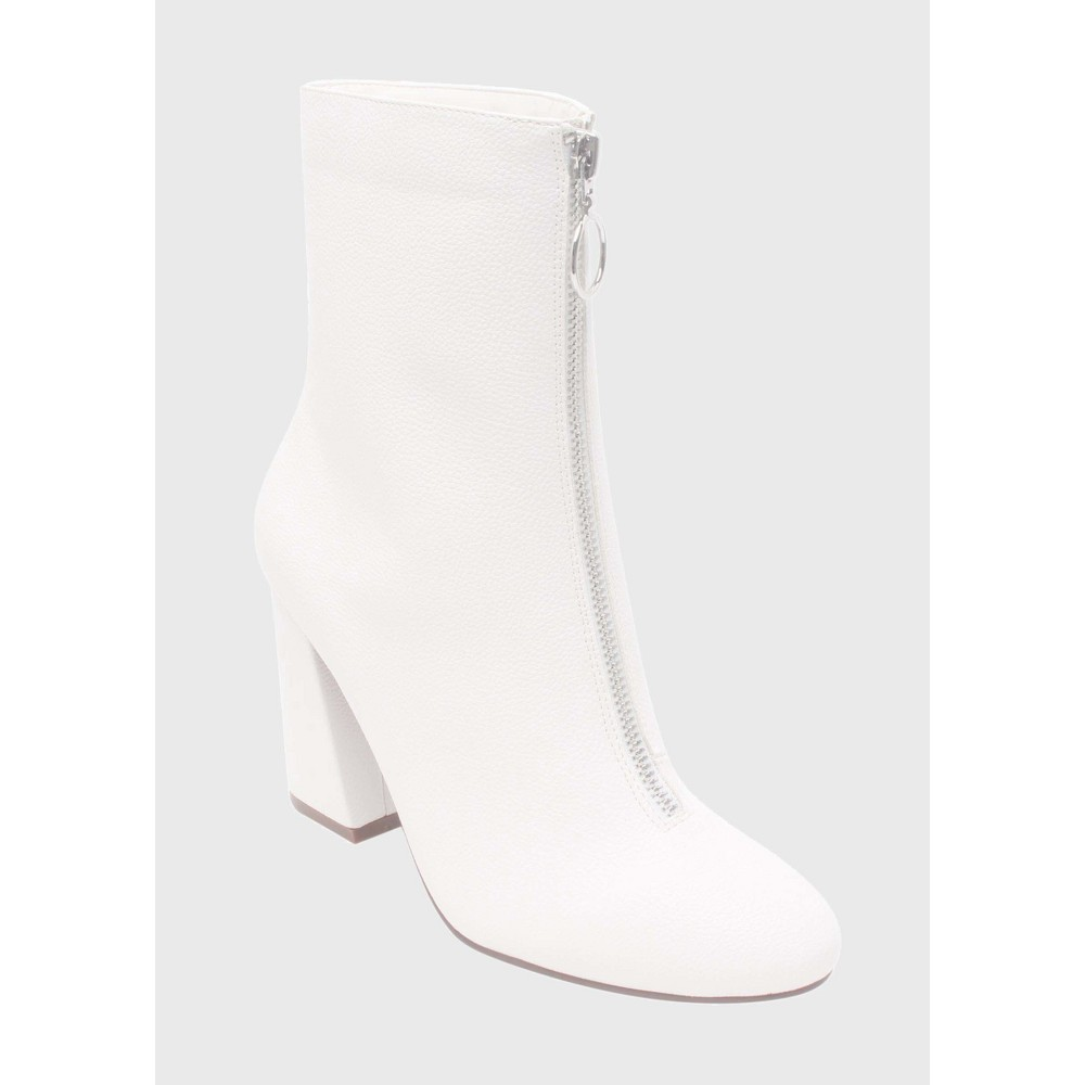 Womens Keisa Patent Zip Front Booties Who What Wear - White 8.5
