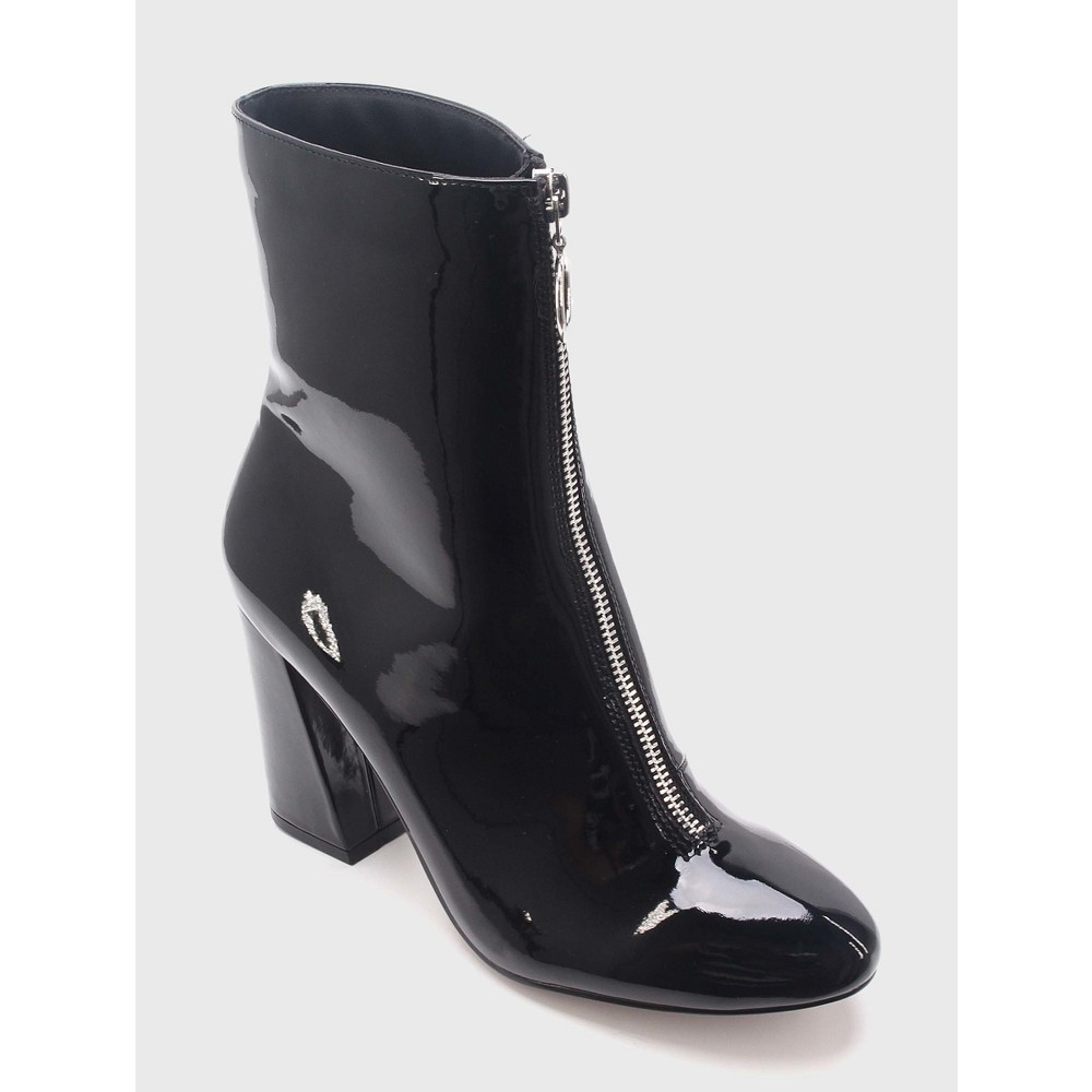 Womens Keisa Patent Zip Front Booties Who What Wear - Black 6.5