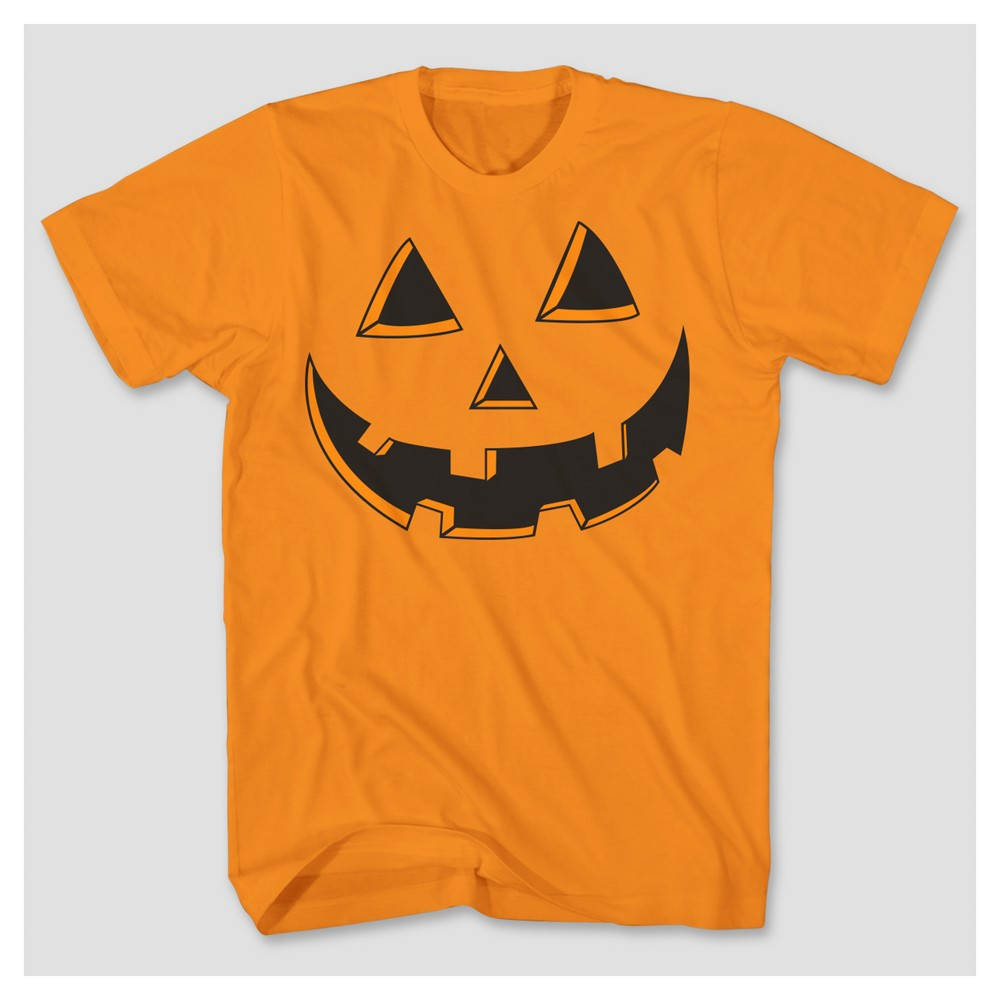 Mens Pumpkin Face Graphic T-Shirt - Orange S