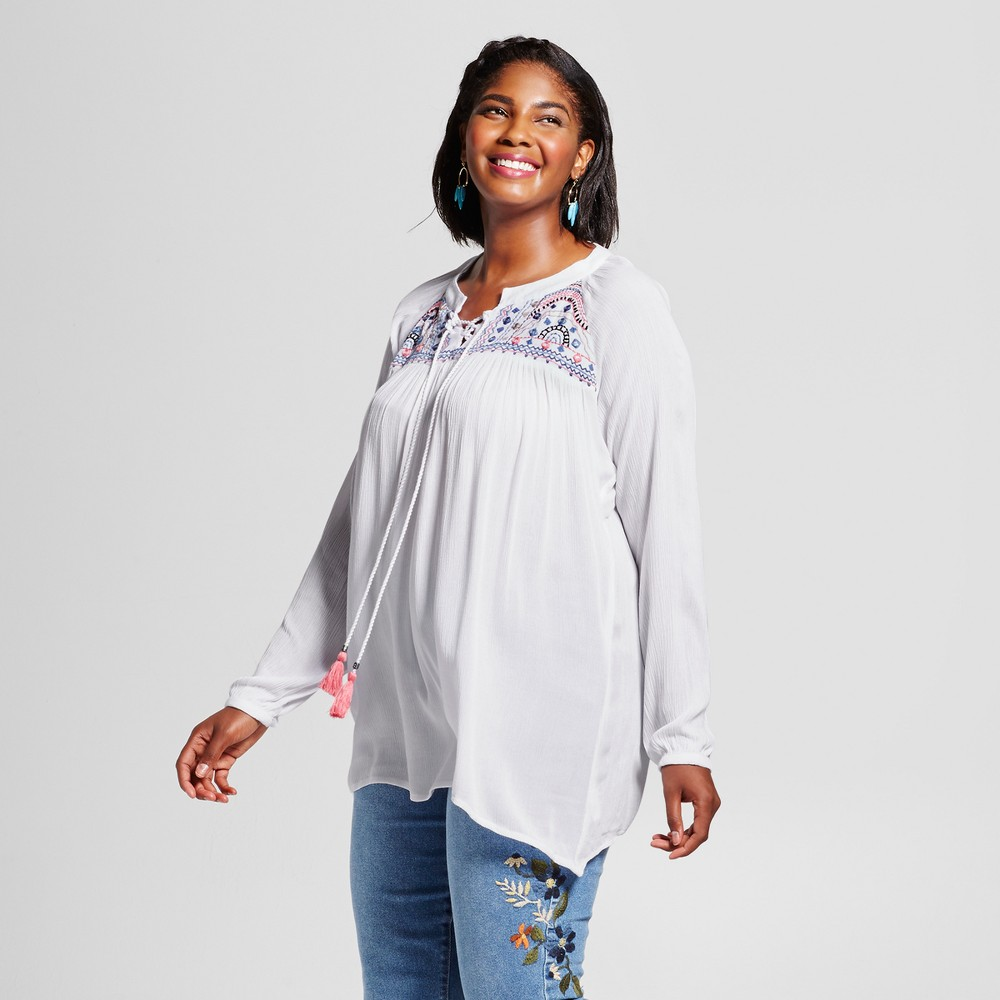 Womens Plus Size Lace Up Blouse - Notations - White 2X