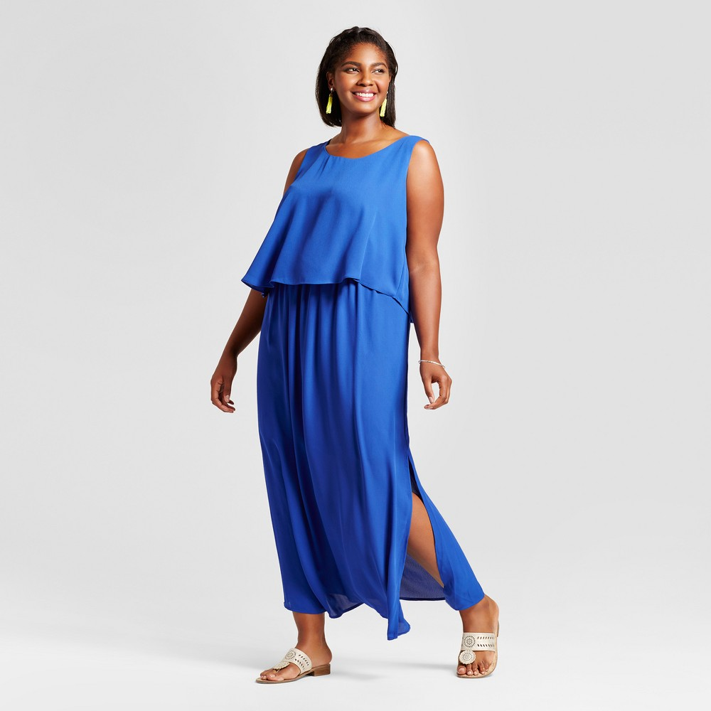 Womens Plus Size Popover Woven Maxi Dress Blue 3X - Notations