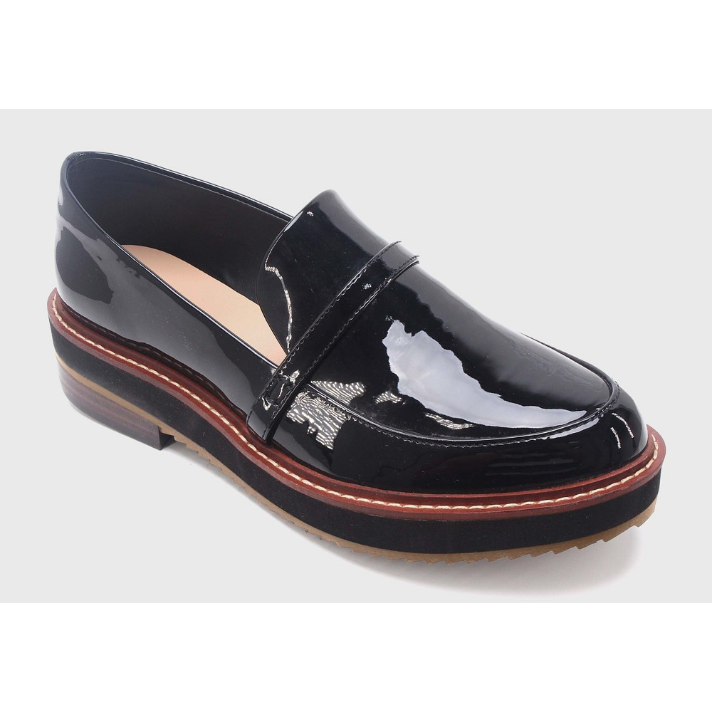 Womens Justine Patent Platform Loafers Who What Wear - Black 10