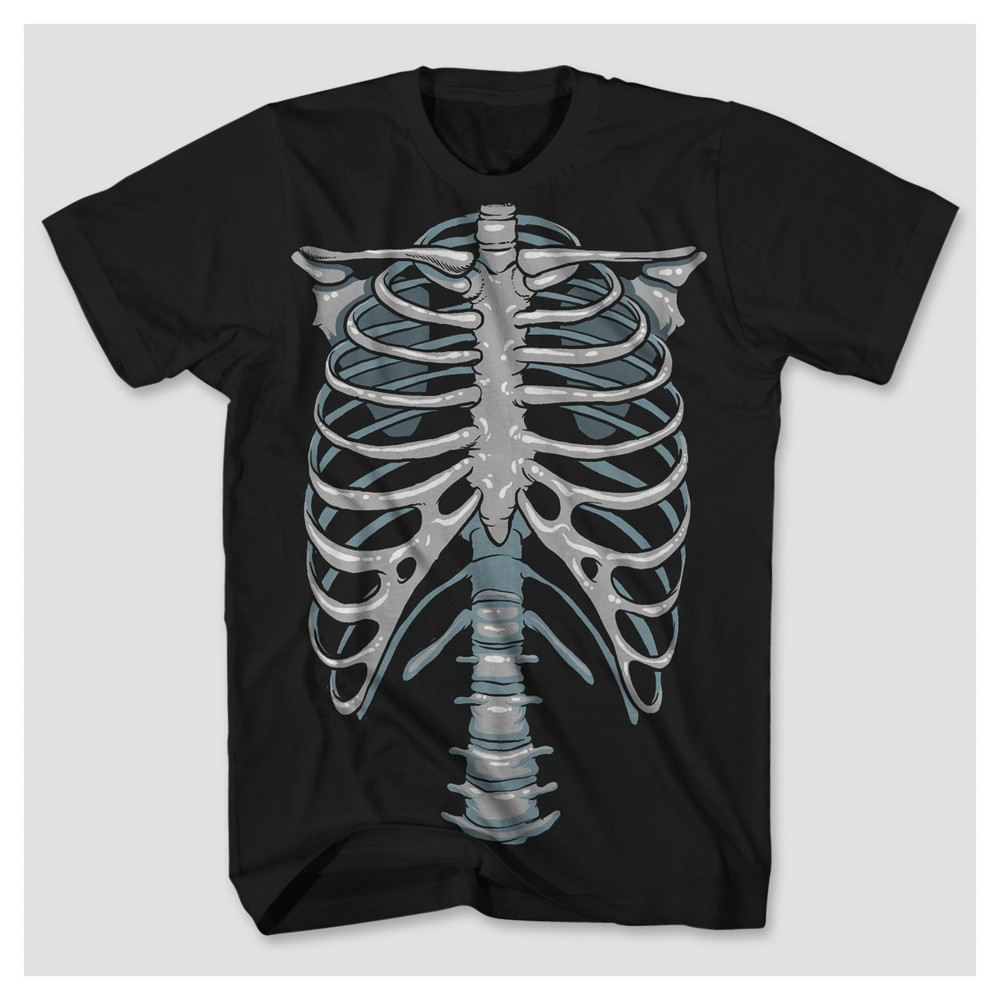 Mens Glow-in-the-Dark Skeleton Graphic T-Shirt - Black L