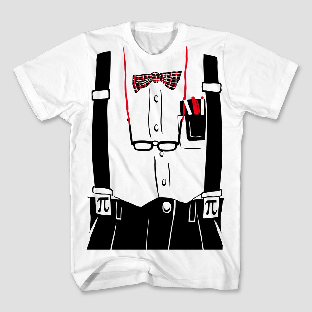 Mens Nerd Costume Graphic T-Shirt - White L