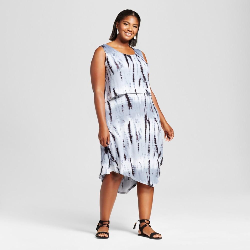 Womens Plus Size Tie Dye Popover Dress - Notations - Gray 2X, Black