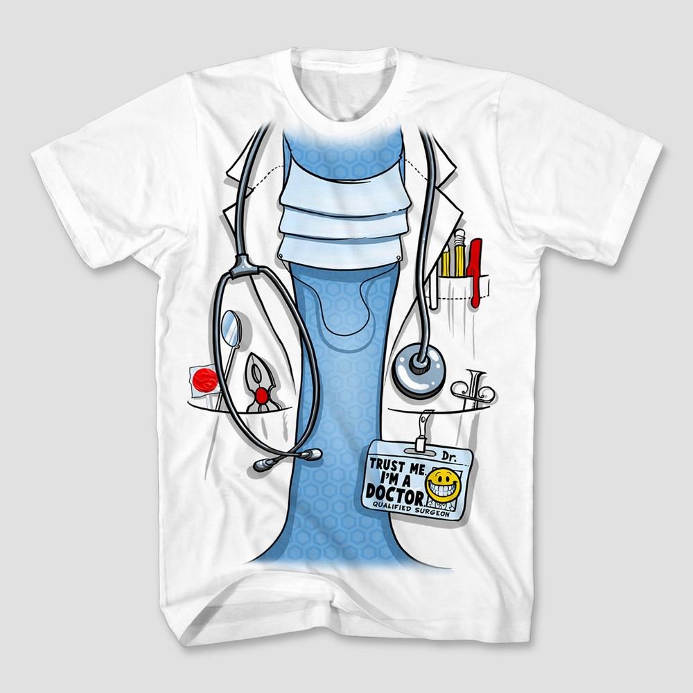 Mens Doctor Costume Graphic T-Shirt - White M
