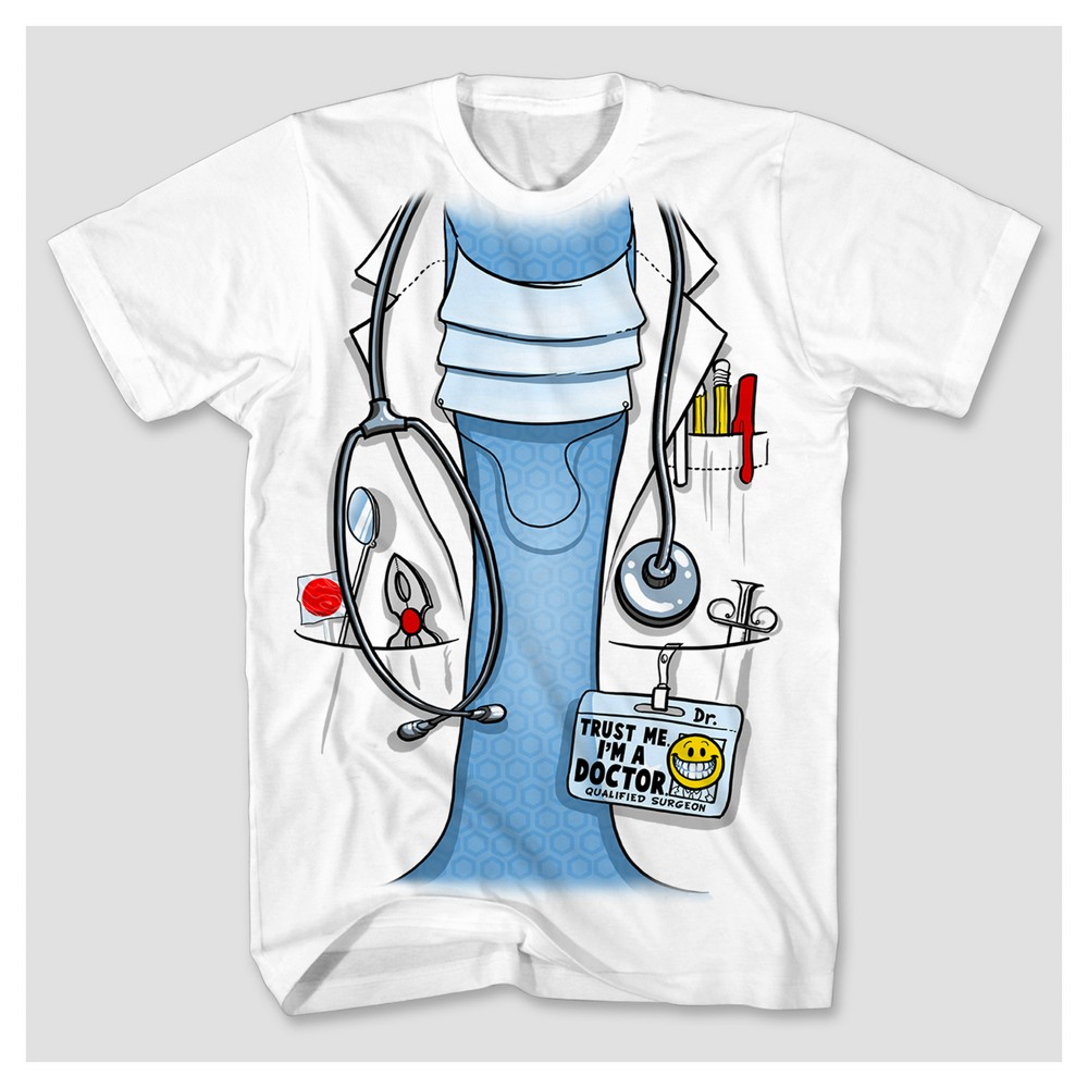 Mens Doctor Costume Graphic T-Shirt - White XL