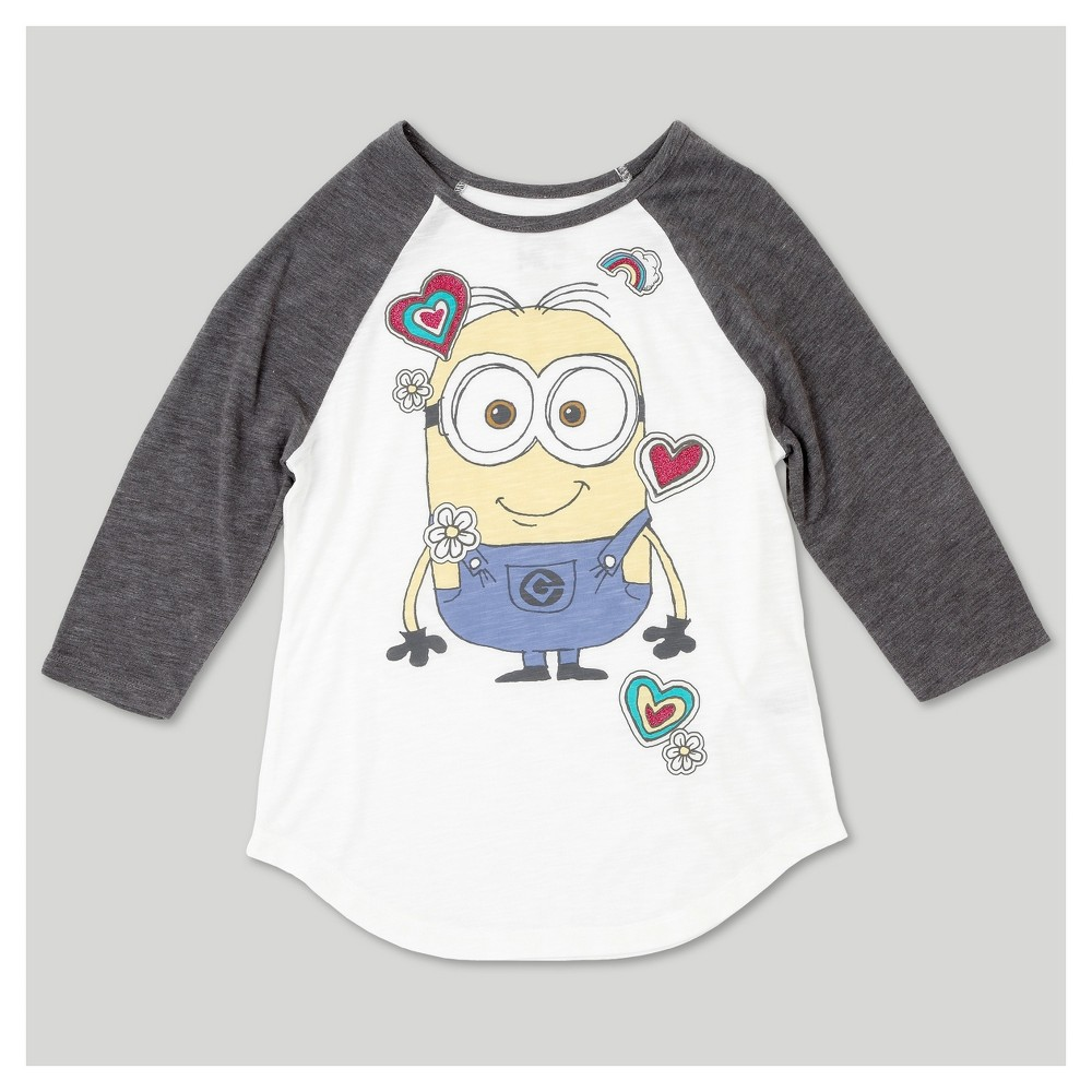 Girls Despicable Me 3 3/4 Sleeve Raglan T-Shirt - Ivory M, White
