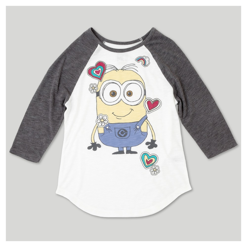 Girls Despicable Me 3 3/4 Sleeve Raglan T-Shirt - Ivory S, White