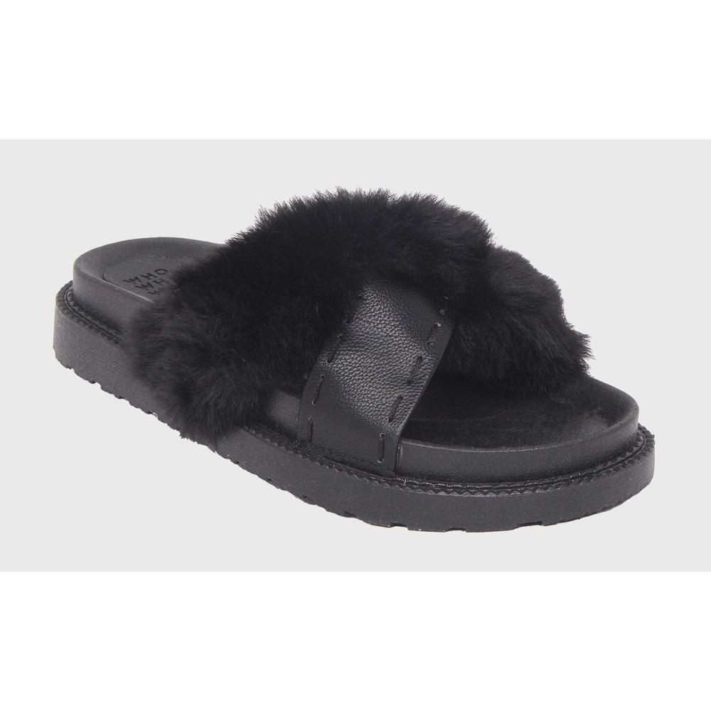 Womens Kassandra Faux Fur Slide Sandals Who What Wear - Black 6