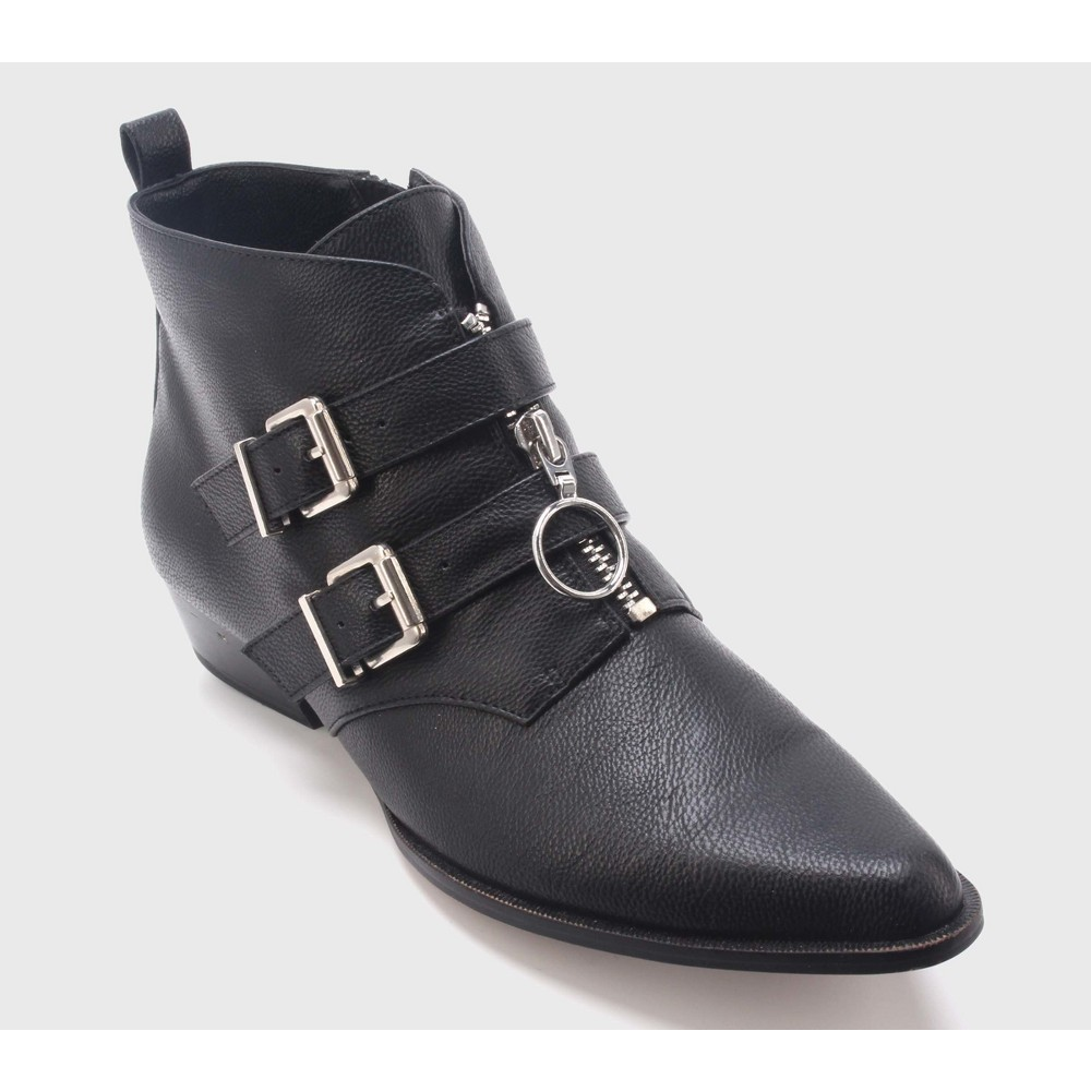 Womens Maddison Double Buckle Zip Front Booties Who What Wear - Black 9.5