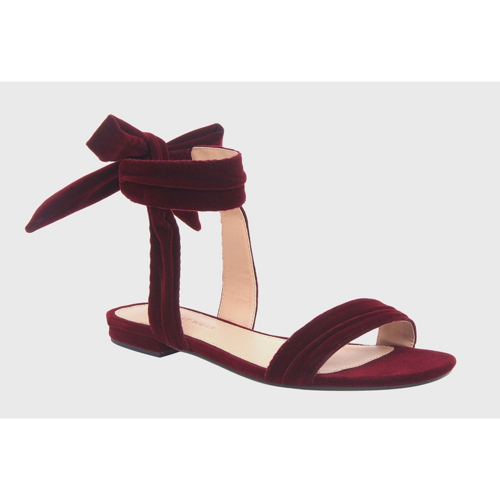 Womens Liana Velvet Tie Back Ankle Wrap Sandals Who What Wear Wine (Red) 6