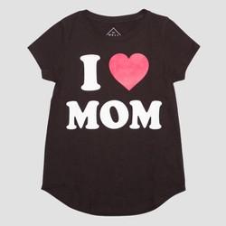Girls' I Heart Mom Short Sleeve T-Shirt - Black